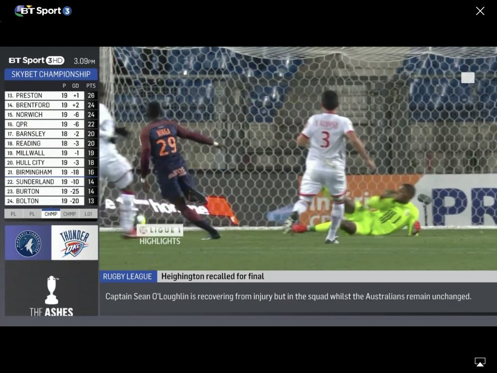 BT Sport on an iPad with Airplay icon